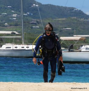 Scuba Diving Instructor coming out of the water